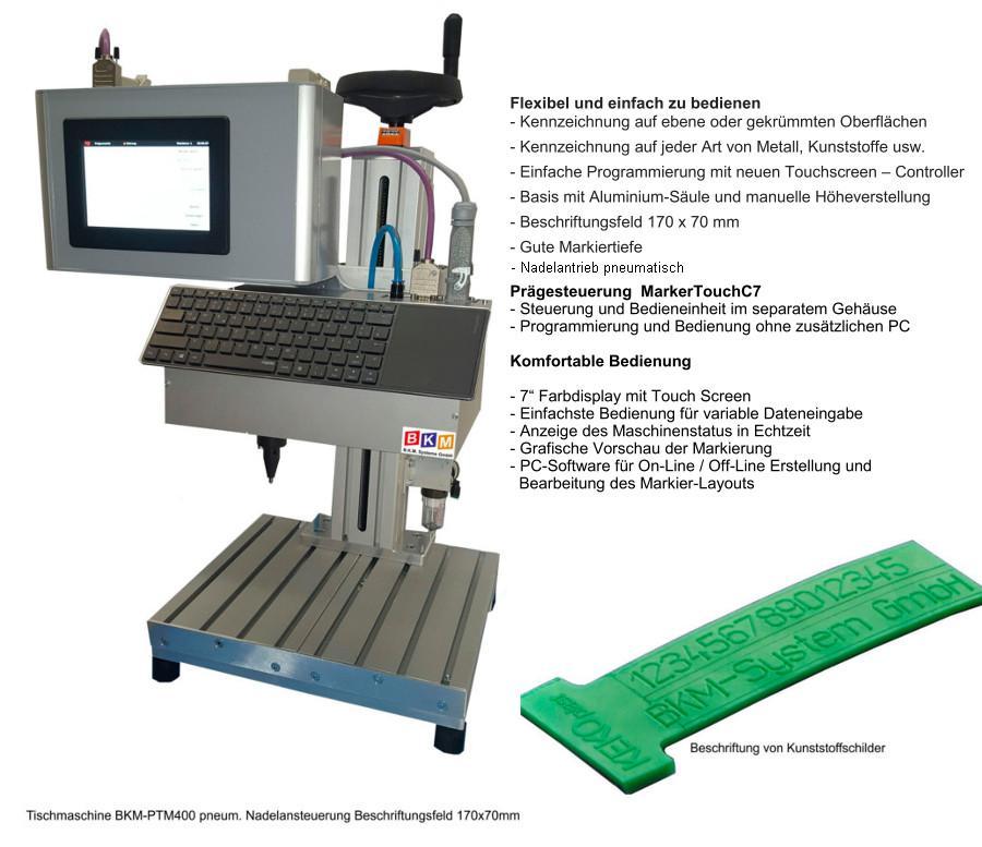 Tischmaschine pneum Nadelansteuerung 150 x 70mm beschriftungsfeld
