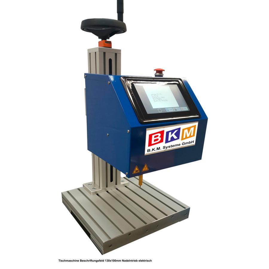 BKM Systeme::Nadelpräger Tischmaschine BKM – ETM5 mit integrierter Steuerung Nadelantrieb elektrisch Beschriftungsfeld 130x100mm