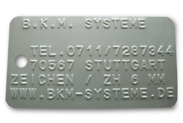 Relief Stahl Typenschild mit Schrift z.B. für Feuerverzinkung