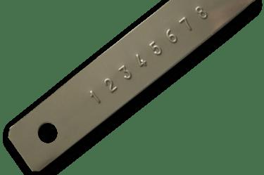 Relief V2A V4A Typenschild für Hydraulikleitungen mit beständiger Schrift