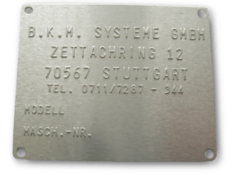 Relief Aluminium Typenschild mit geprägter Schrift
