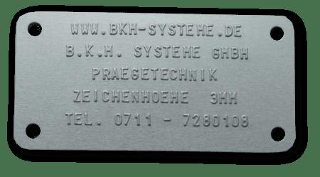 Relief Stahl Typenschild mit erhabener Schrift